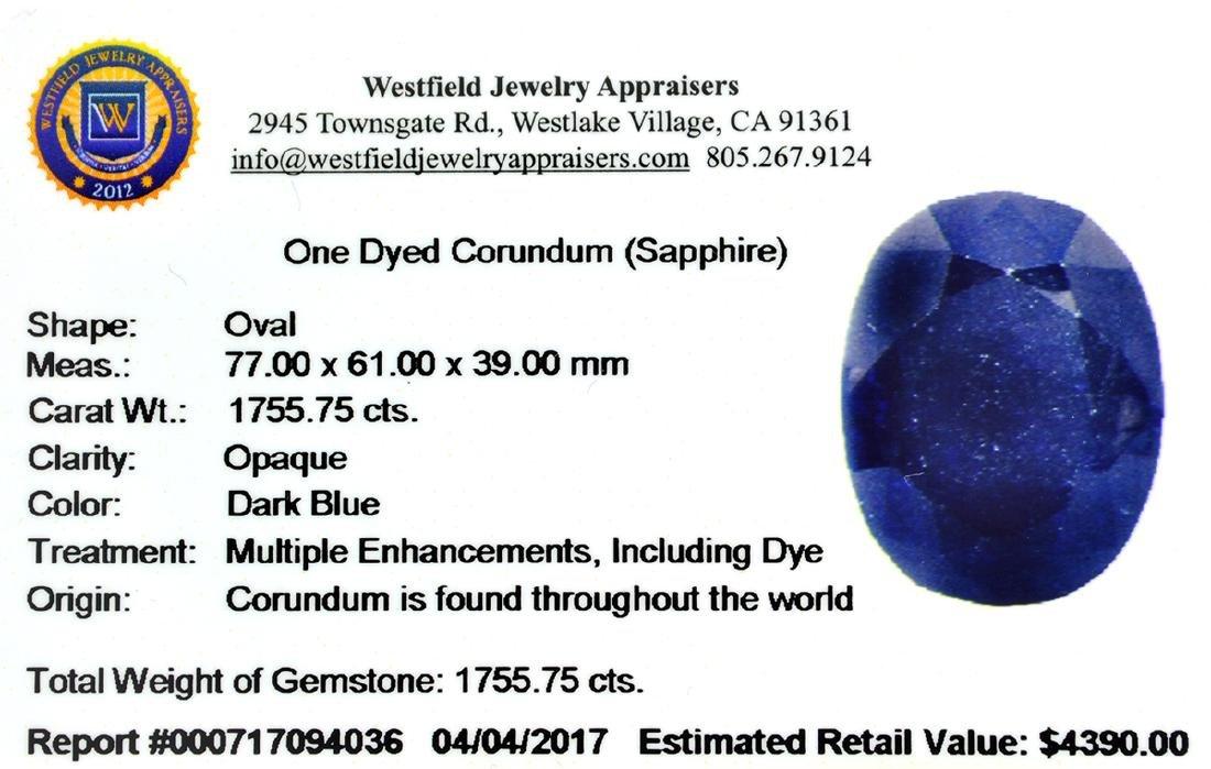 APP: 4.4k 1,755.75CT Oval Cut Blue Sapphire Gemstone - 3