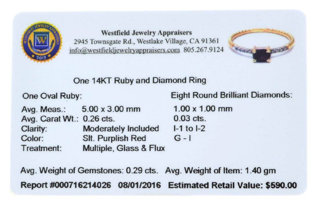 APP: 0.6k Fine Jewelry 14KT Gold, 0.26CT Ruby And - 2