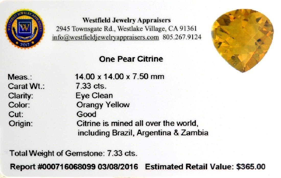 APP: 0.4k 7.33CT Pear Cut Citrine Gemstone - 2