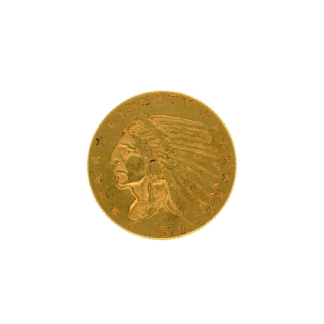 *1914-D $2.5 Indian Head Gold Coin (DF)