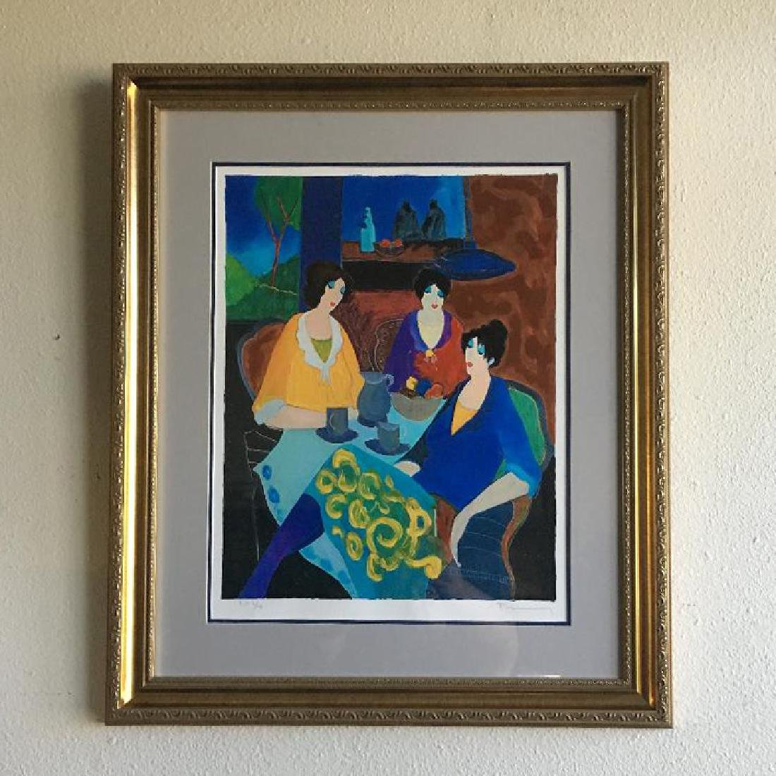 Tarkay- Framed Lithograph-Signature ''''Tea Time''''