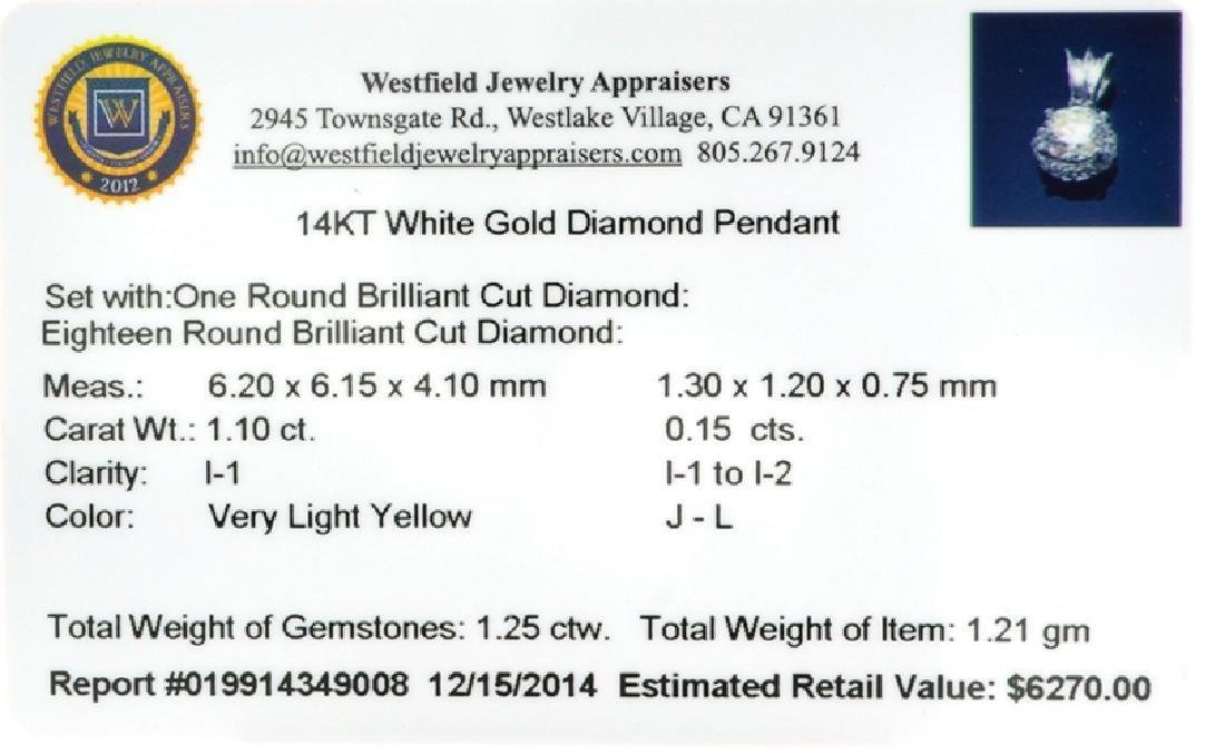 APP: 6.3k 14 kt. White Gold, 1.10CT Round Cut Diamond - 3