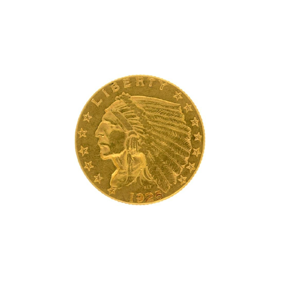 *1925-D $2.5 Indian Head Gold Coin (DF)