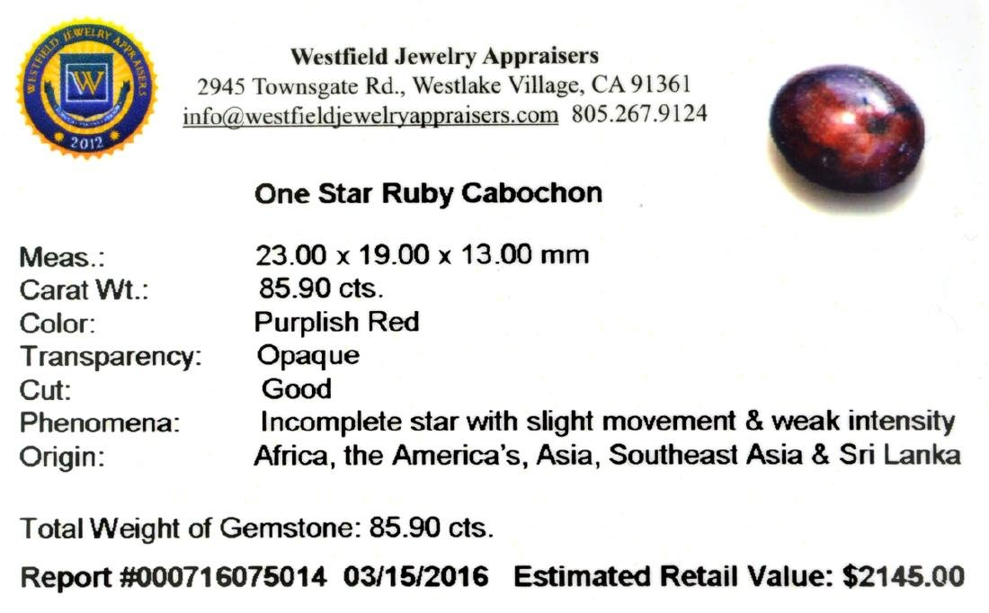 APP: 2.1k 85.90CT Cabochon Red Star Ruby Gemstone - 2