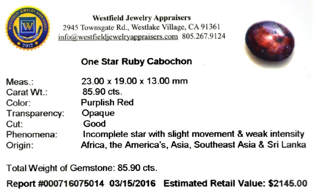 APP: 2.1k 85.90CT Cabochon Red Star Ruby Gemstone - 2