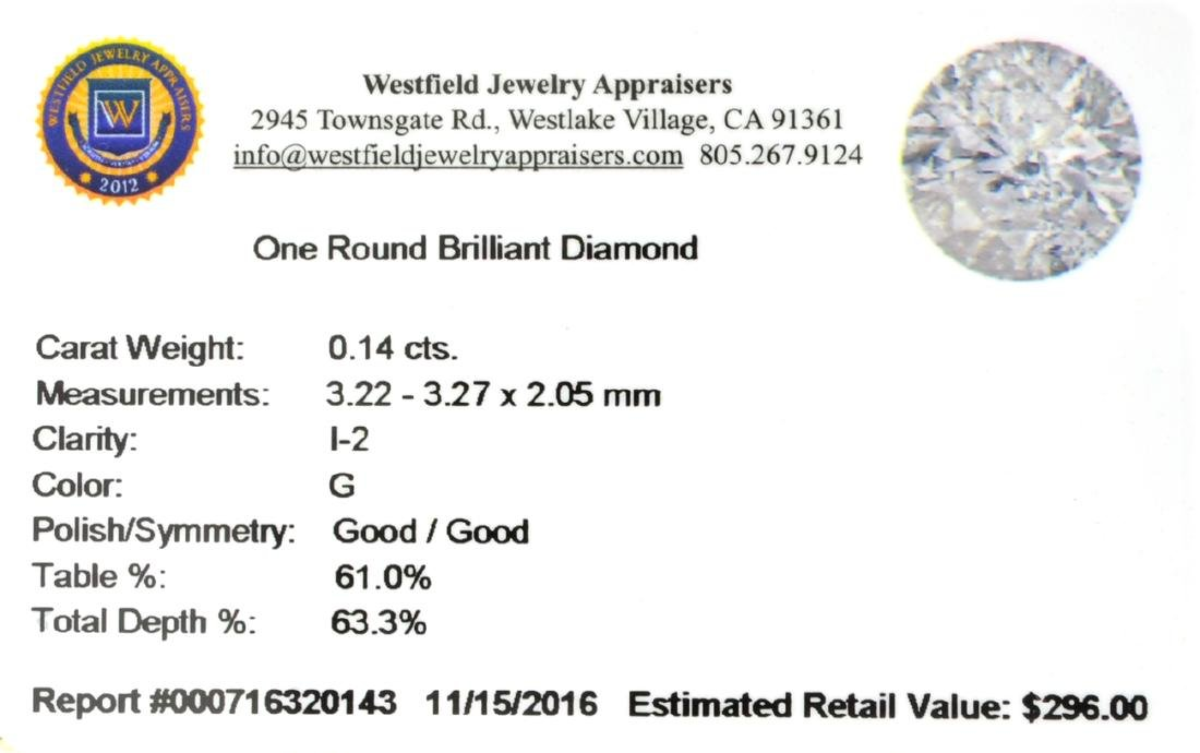 APP: 0.3k Fine Jewelry 0.14CT Round Brilliant Cut - 2
