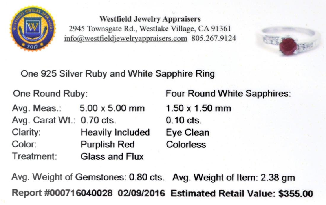 APP: 0.4k Fine Jewelry 0.70CT Round Cut Ruby And White - 2