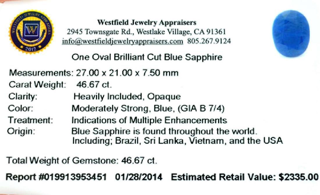 APP: 2.3k 46.67CT Oval Cut Blue Sapphire Gemstone - 3