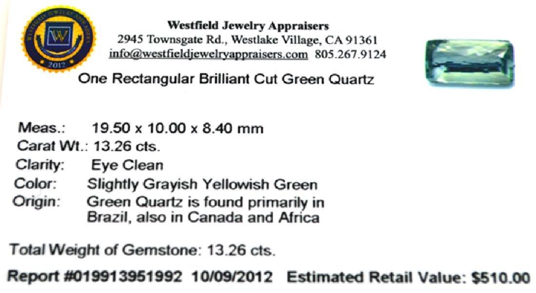 APP: 0.5k 13.26CT Rectangular Cut Green Quartz Gemstone - 2