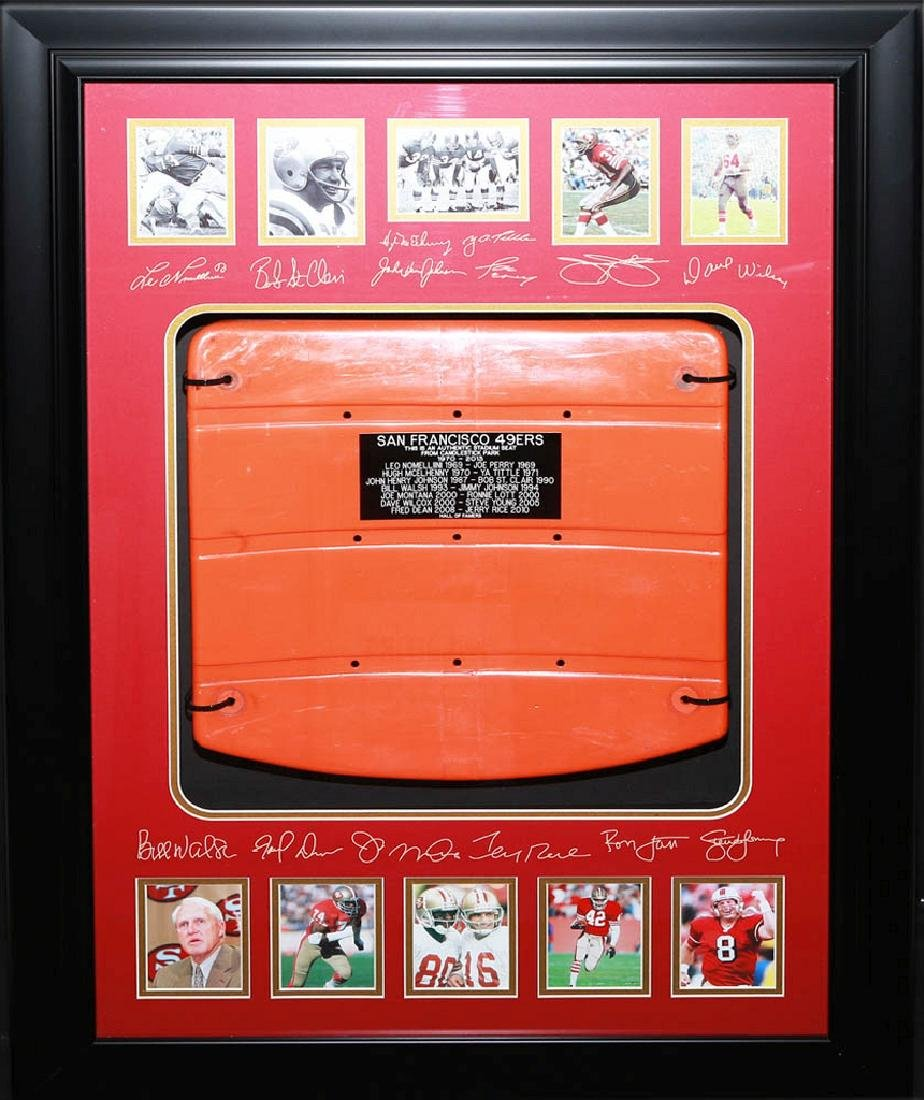 49ers Hall of Fame Collage with Engraved Seat