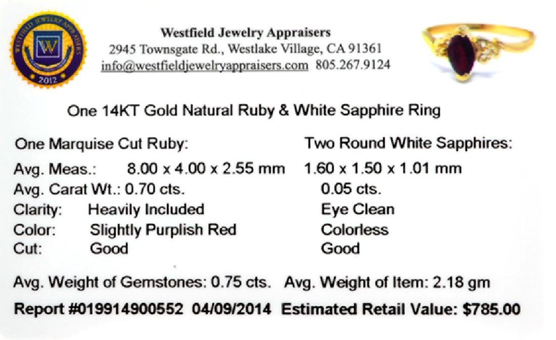 APP: 0.8k 14 kt. Gold, 0.70CT Marquise Cut Ruby And - 2