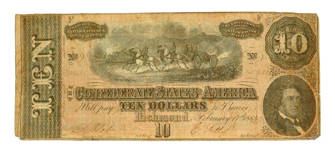 Rare 1864 $10 U.S. Confederate Note