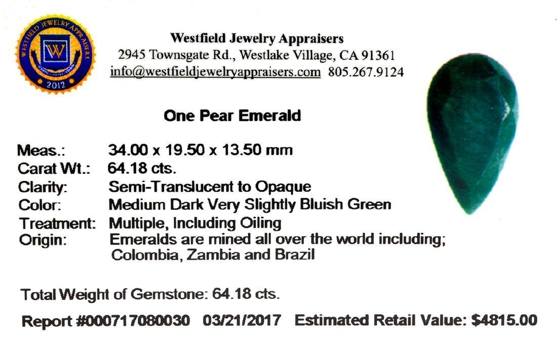 APP: 4.8k 64.18CT Pear Cut Green Emeral Gemstone - 2