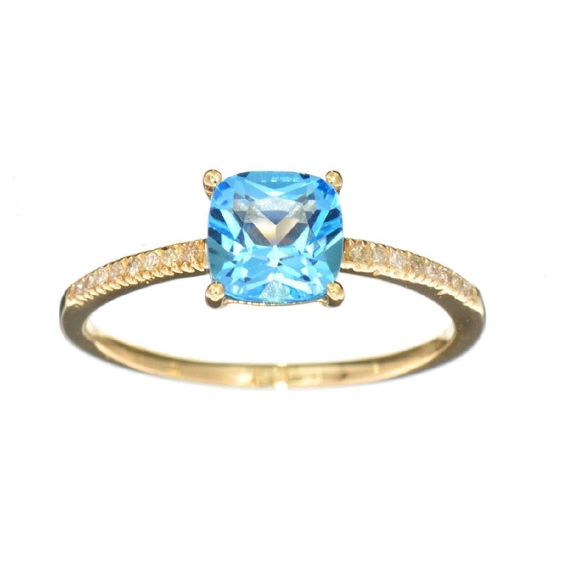 Designer Sebastian 14KT Gold, Cushion Cut Blue Topaz