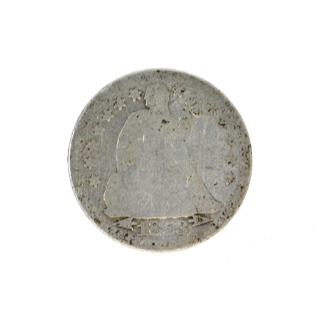 1853 Liberty Seated Arrows At Date Dime Coin