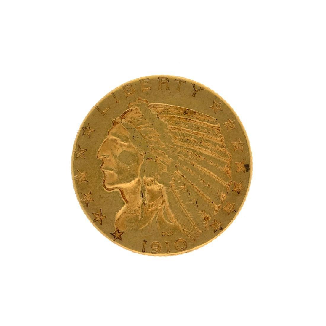 *1910-D $5 Indian Head Gold Coin (DF)