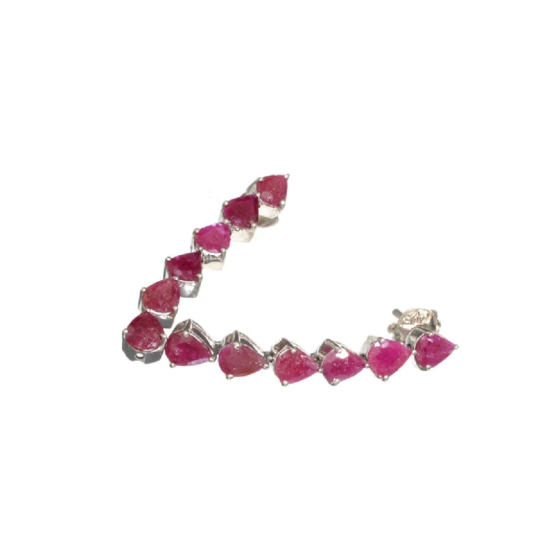APP: 1k Fine Jewelry 5.14CT Pear Cut Ruby And Sterling