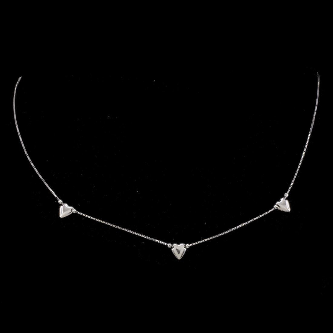 *Fine Jewelry 14KT White Gold Box Chain W 3 Station
