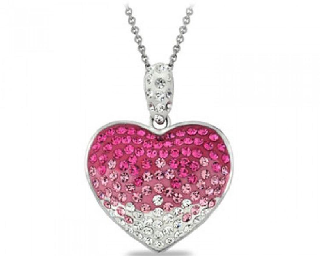 Fushia Crystal Ombre Heart Made With Swarovski Elements