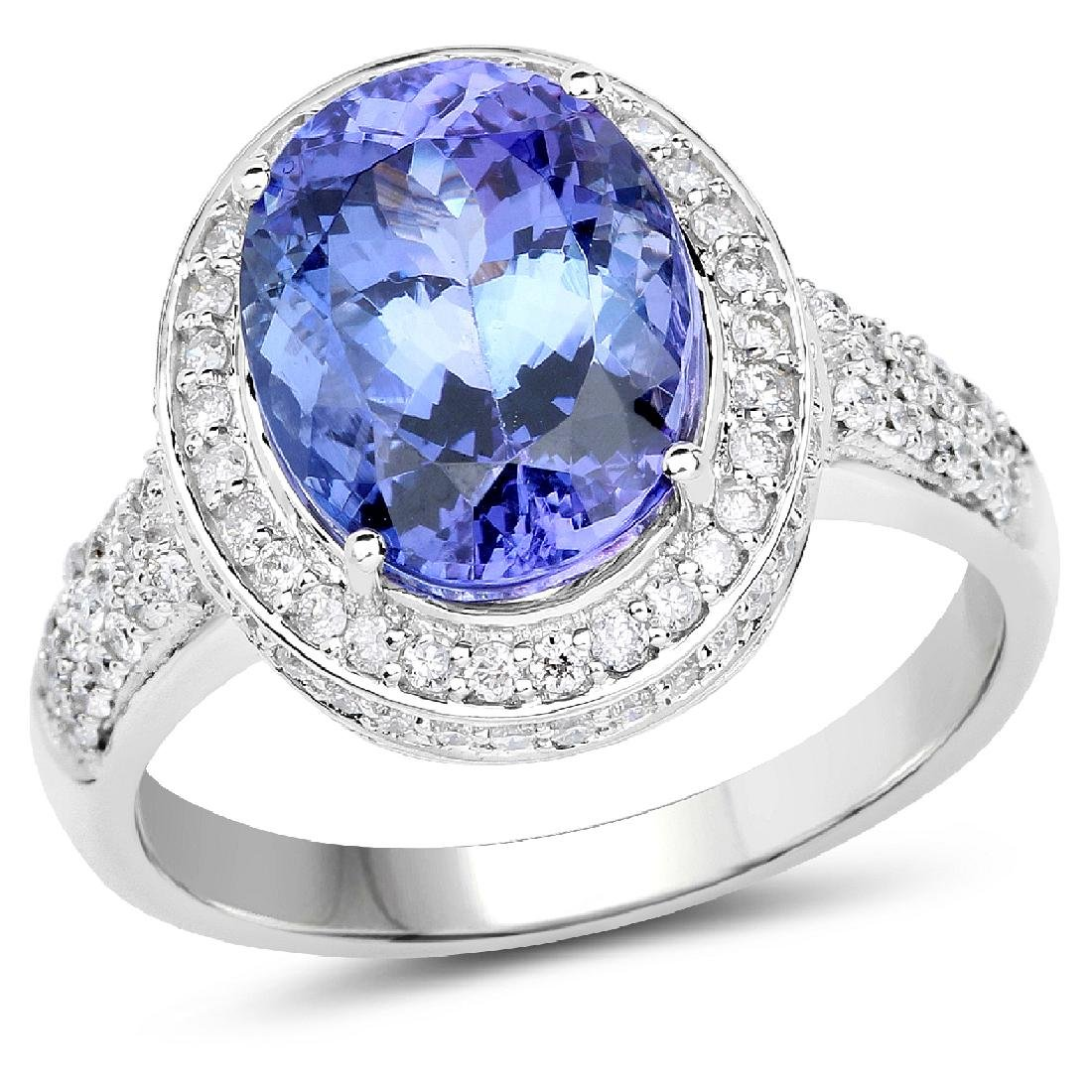 *14 kt. White Gold, 4.62CT Oval Cut Tanzanite And
