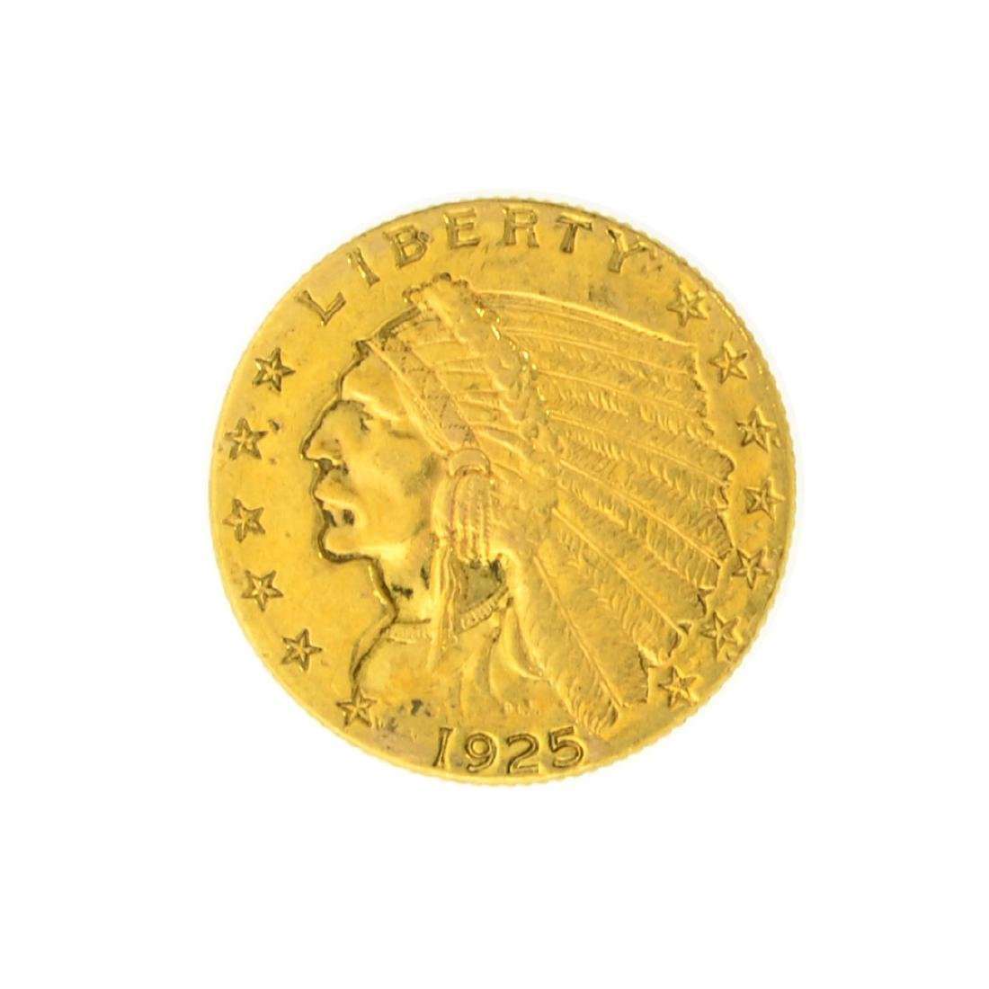 *1925-D $2.50 U.S. Indian Head Gold Coin - Great