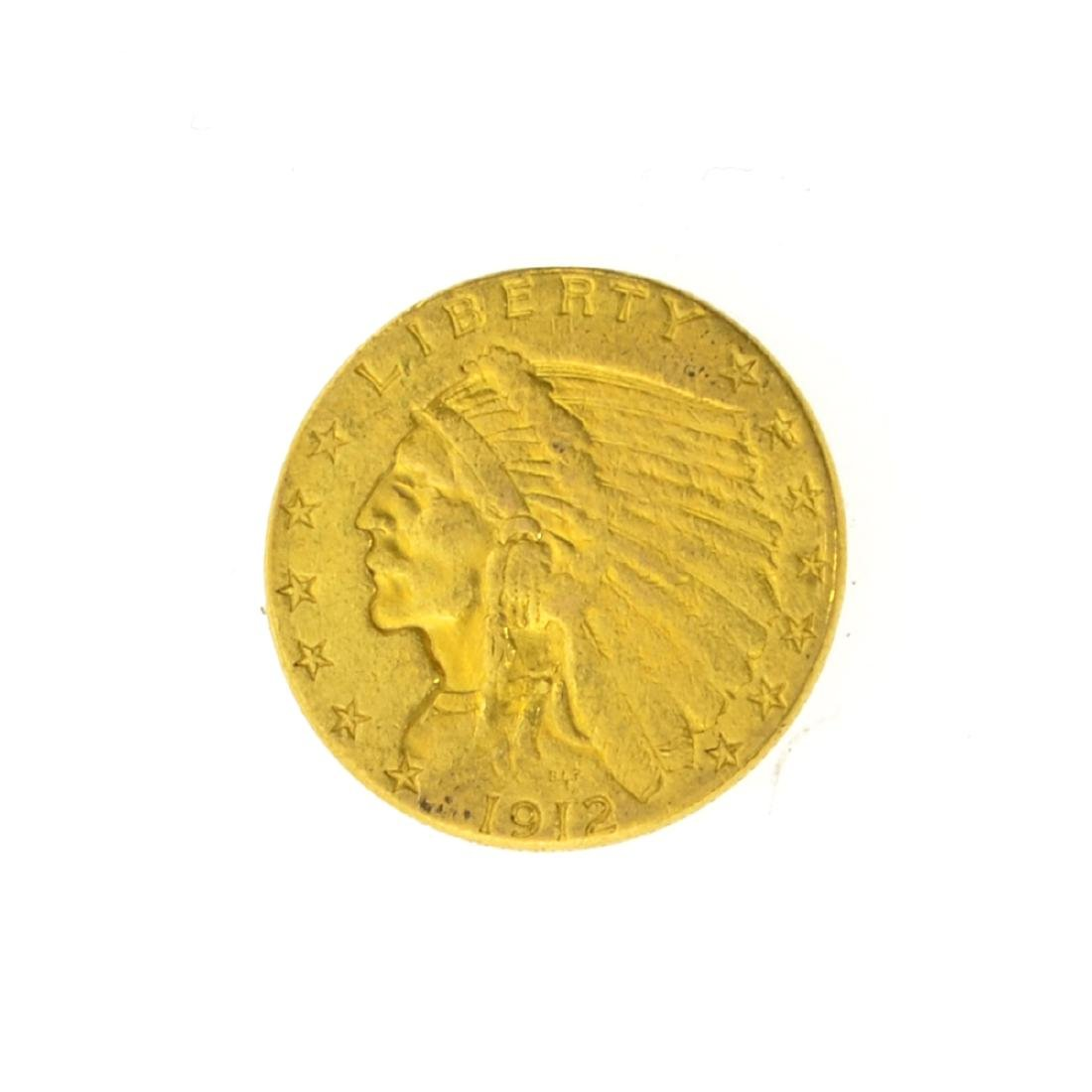 *1912 $2.50 U.S. Indian Head Gold Coin (JG)