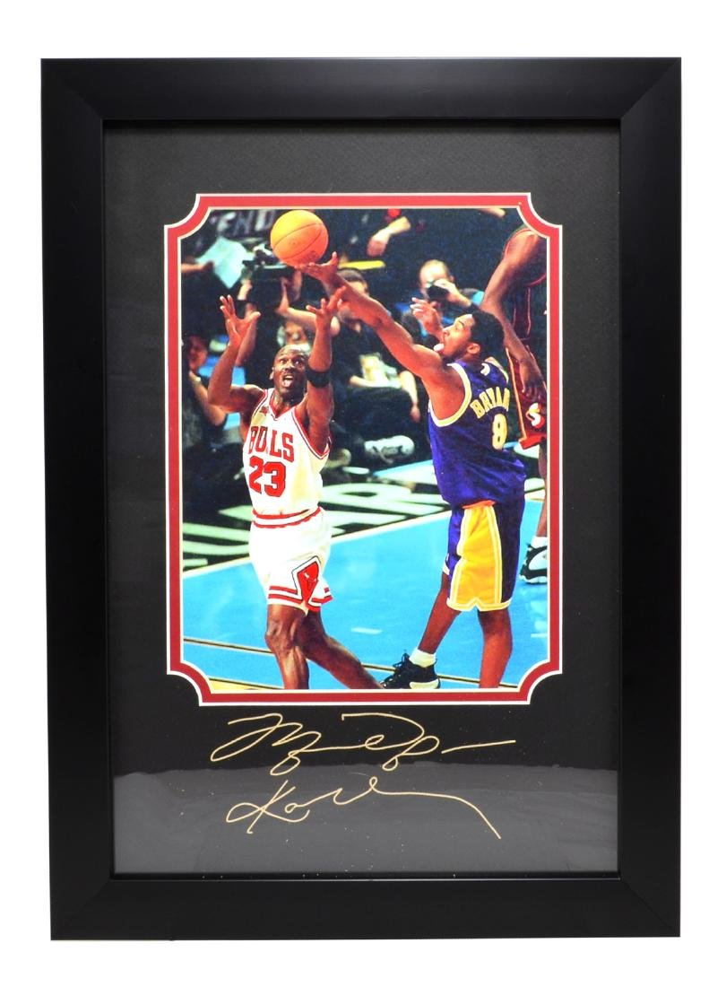 Rare Plate Signed Jordan And Kobe Photo Great