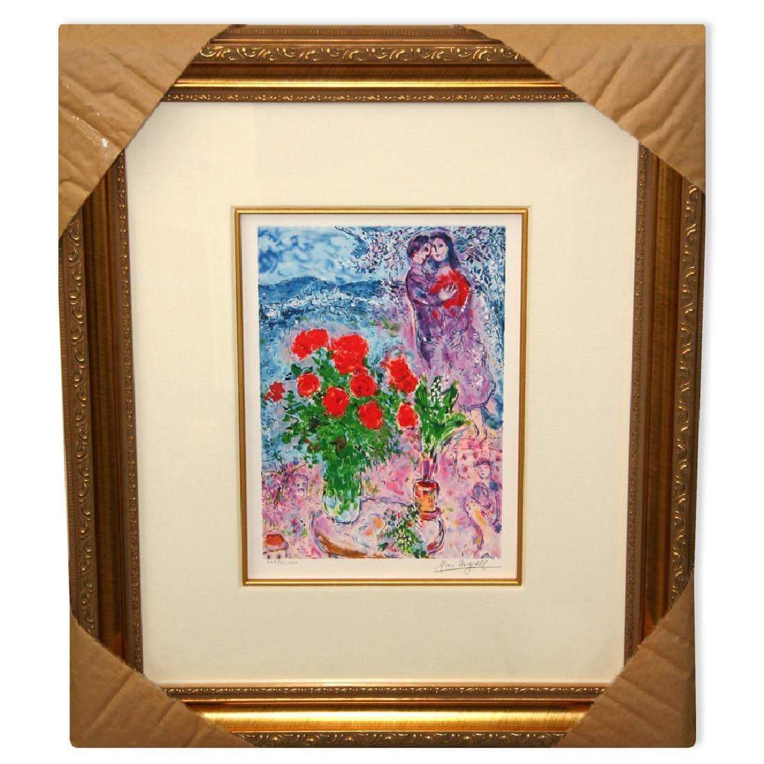 Chagall (After) 'Red Bouquet & Lovers' Framed