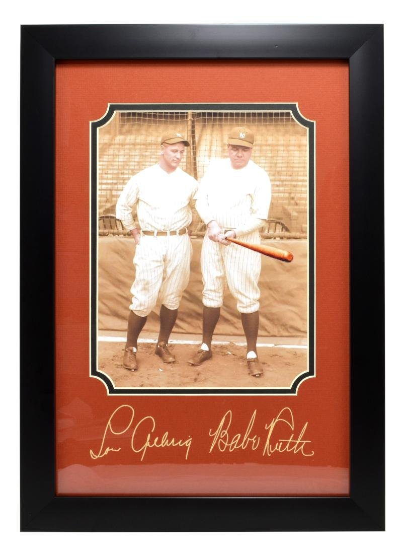 Rare Plate Signed Babe Ruth And Lou Gehrig Photo Great
