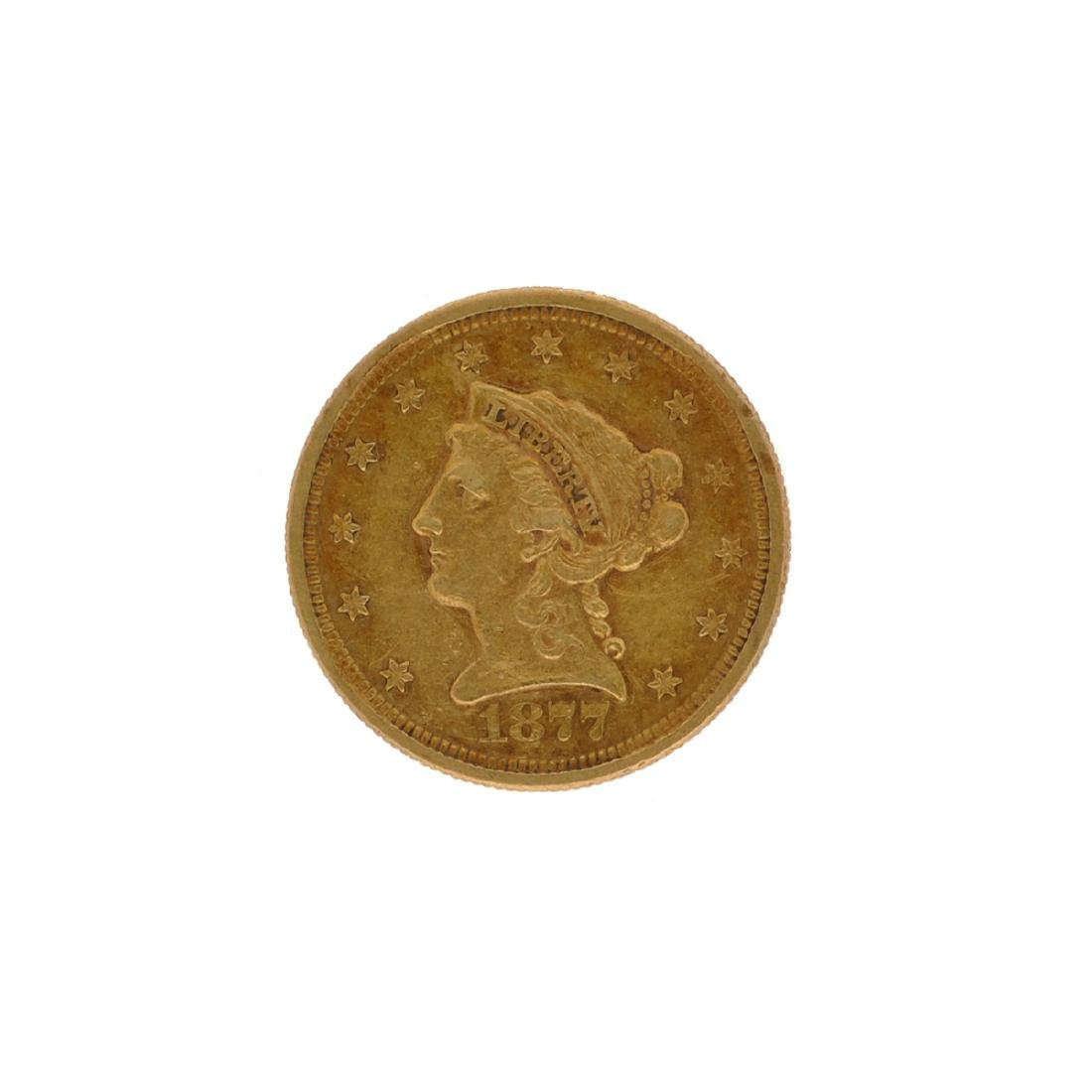 *1877-S $2.5 Liberty Head Gold Coin (DF)