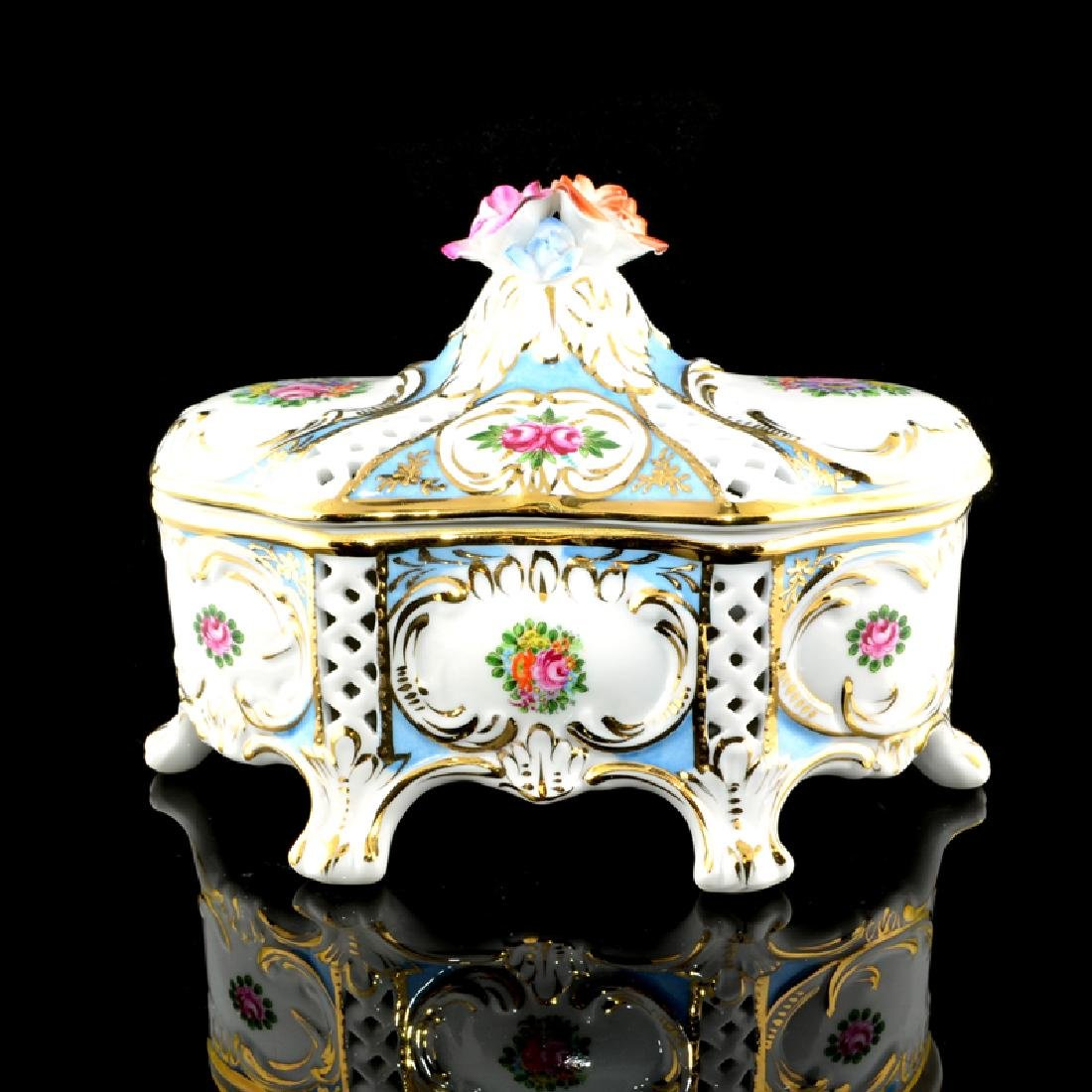 Floral Porcelain Footed Box