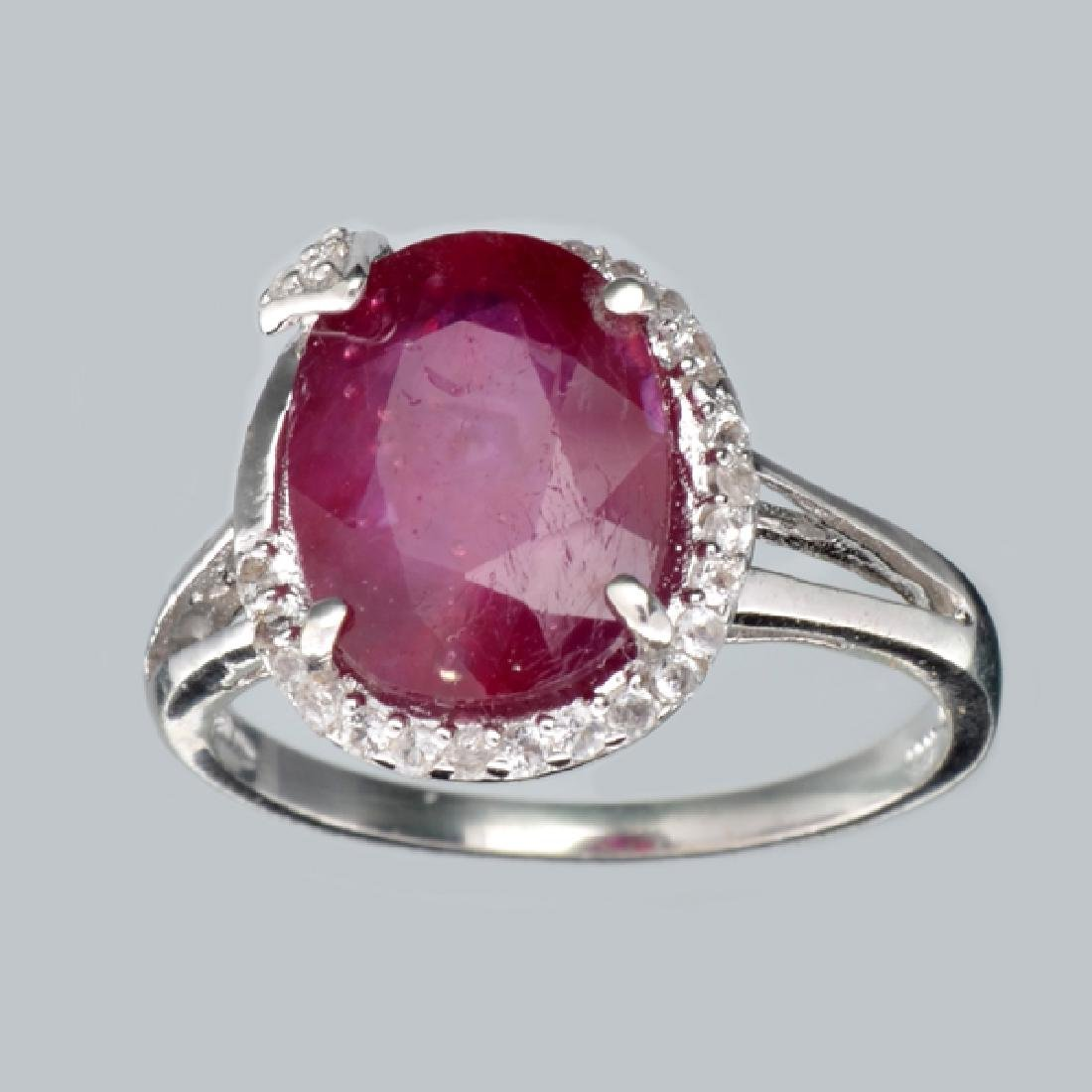 APP: 2.2k 4.19CT Ruby And Colorless Topaz Platinum Over