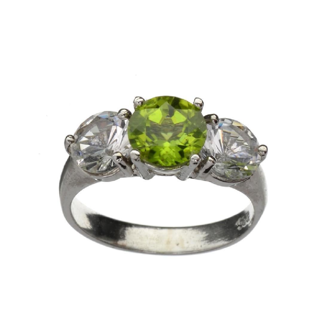 Fine Jewelry 1.60CT Round Cut Green Peridot And