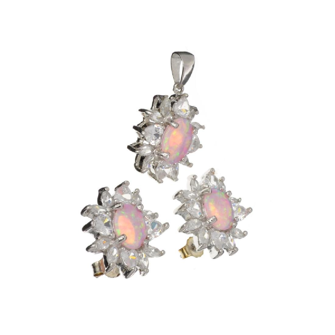 Platinum Over Sterling Silver Opal French Cubic