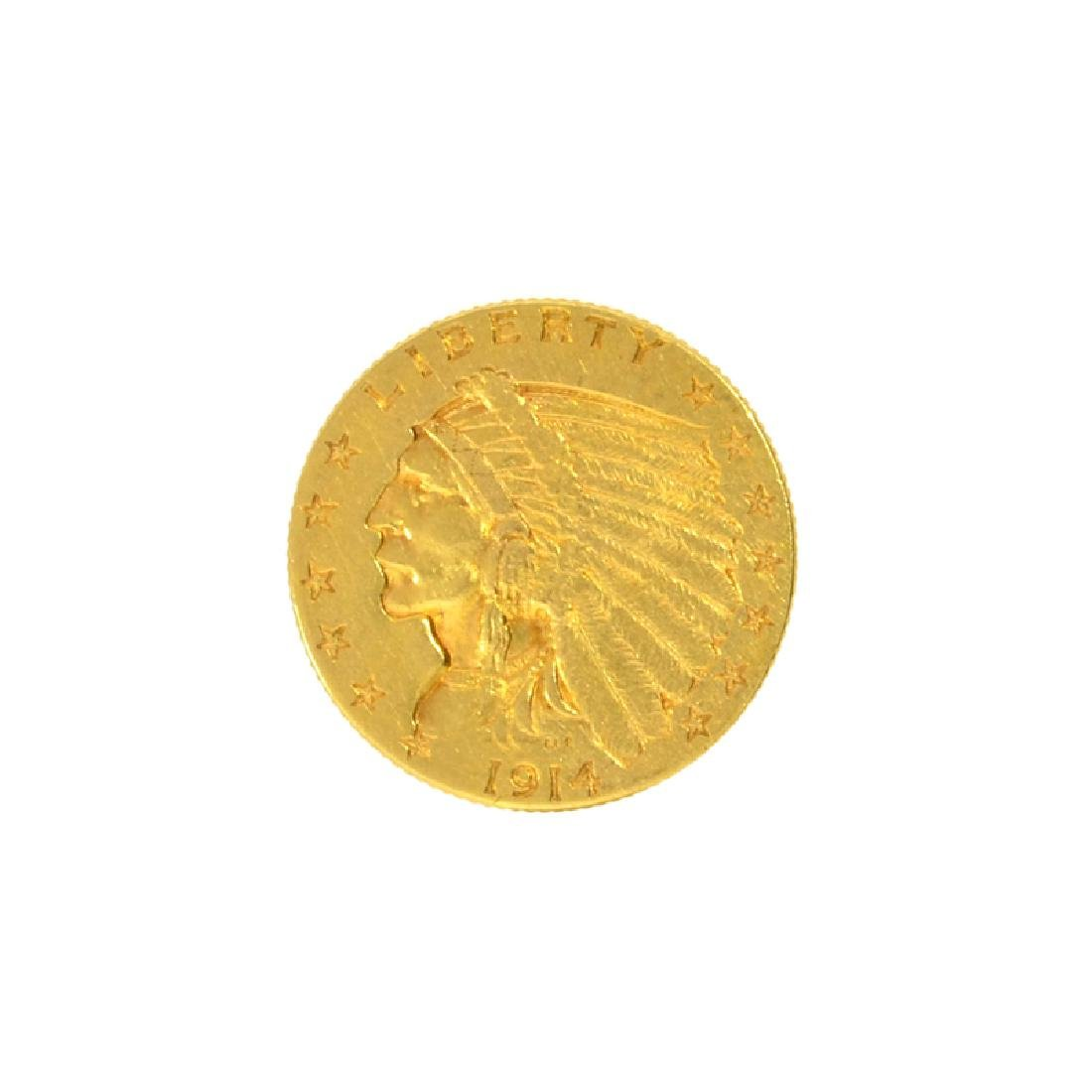 *1914-D $2.50 U.S. Indian Head Gold Coin (DF)