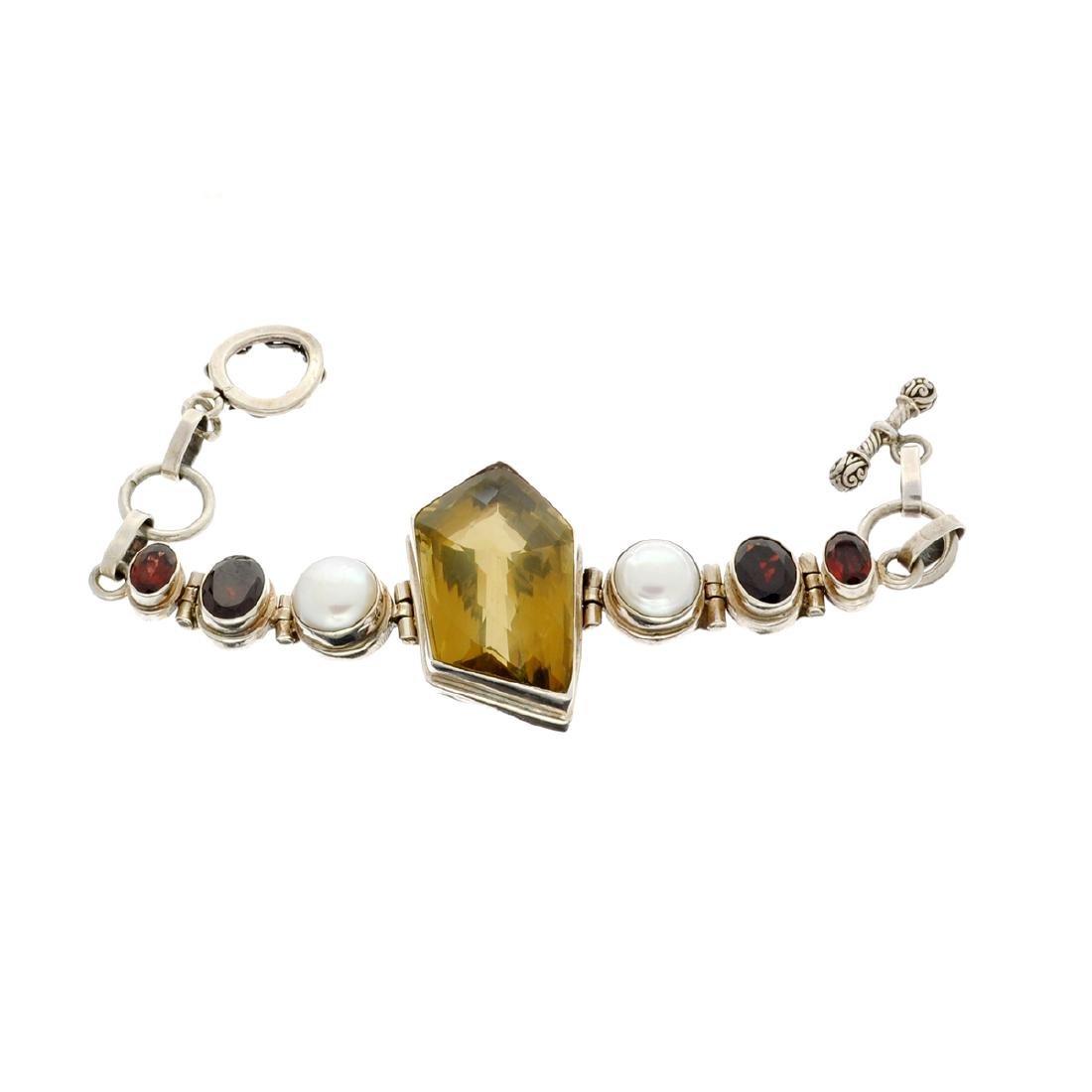 Rare 39.54GR Vintage, Smoky Quartz / Garnet And Pearls