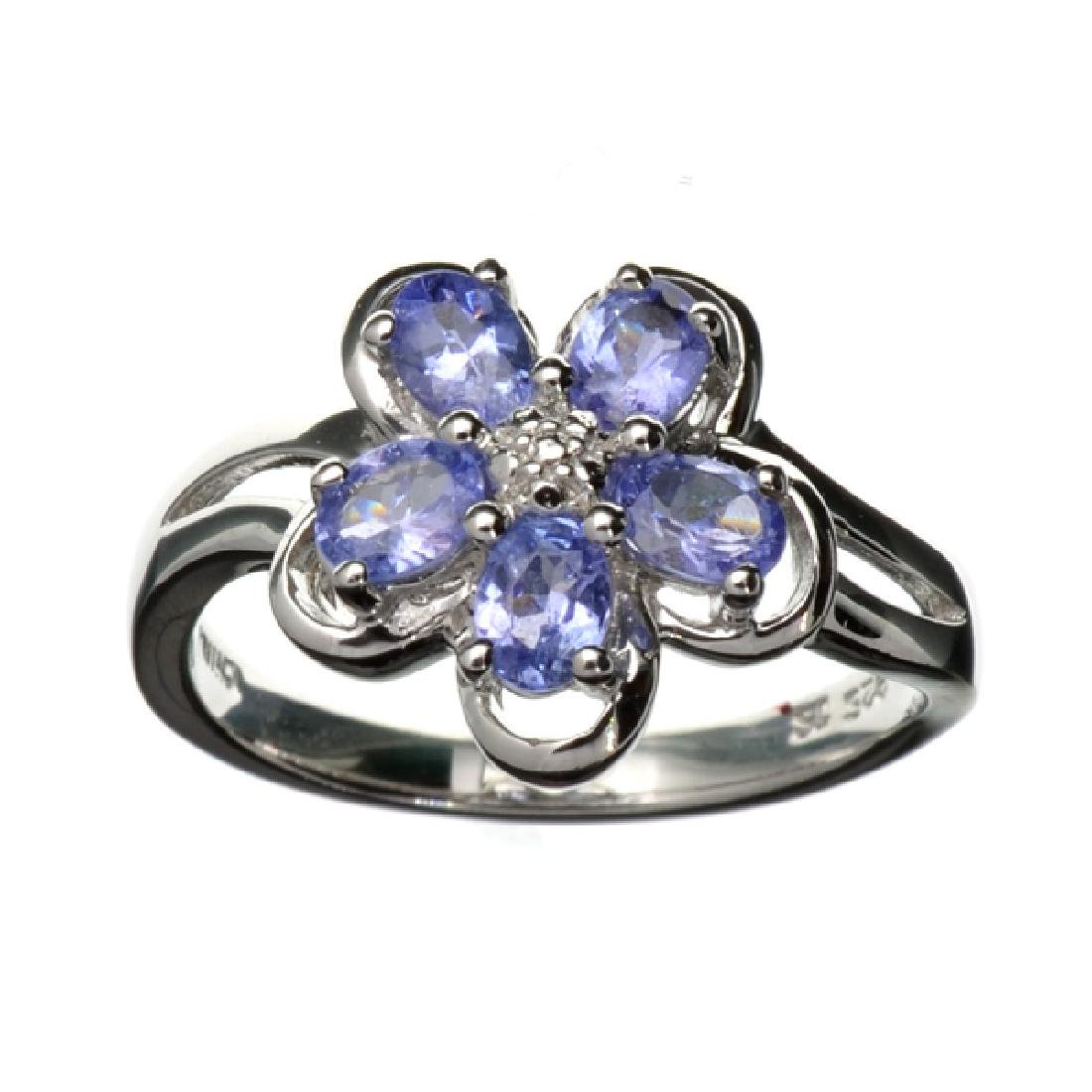 0.88CT Tanzanite and Platinum Overlay Sterling Silver