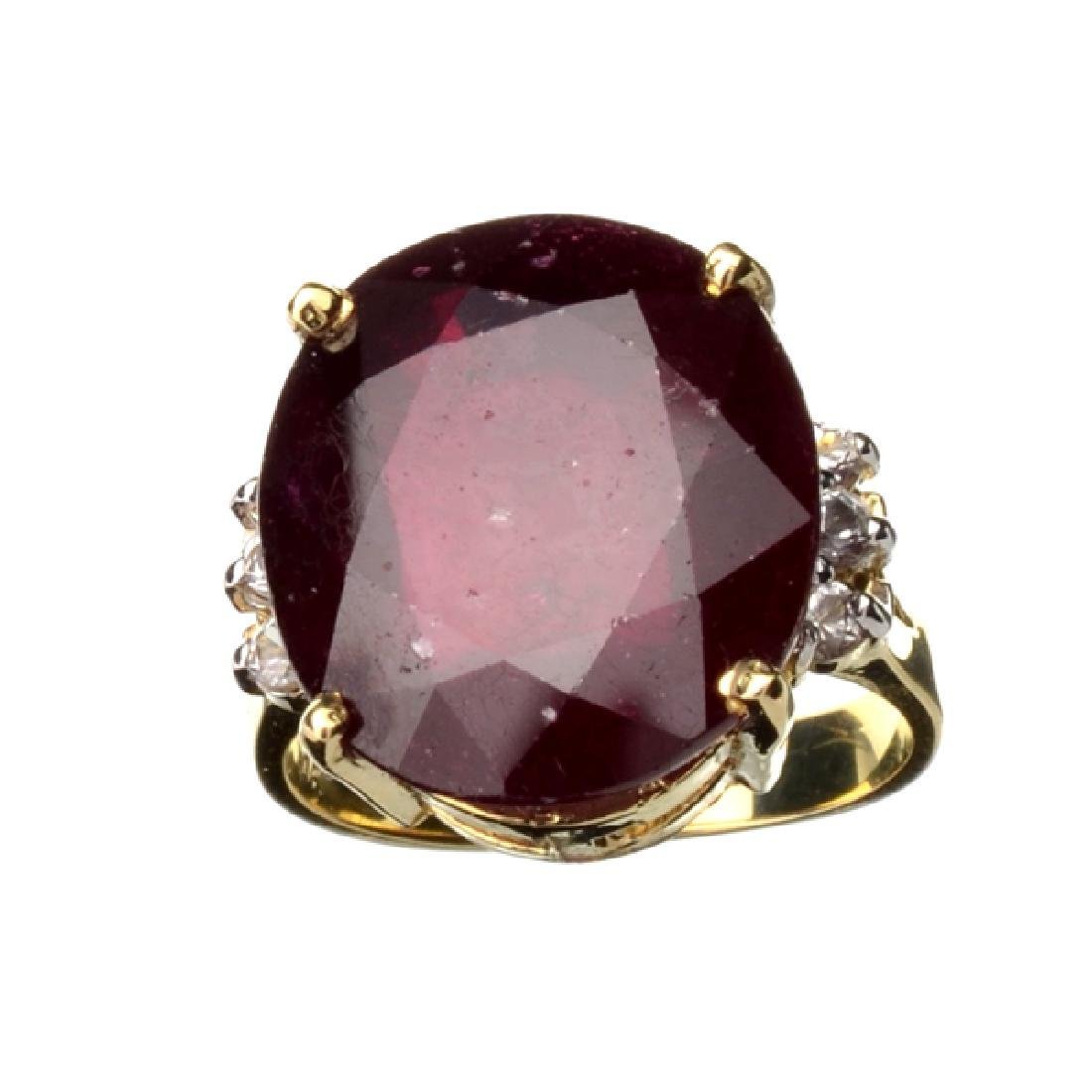 APP: 5.3k 14 kt. Gold, 14.20CT Ruby And White Sapphire