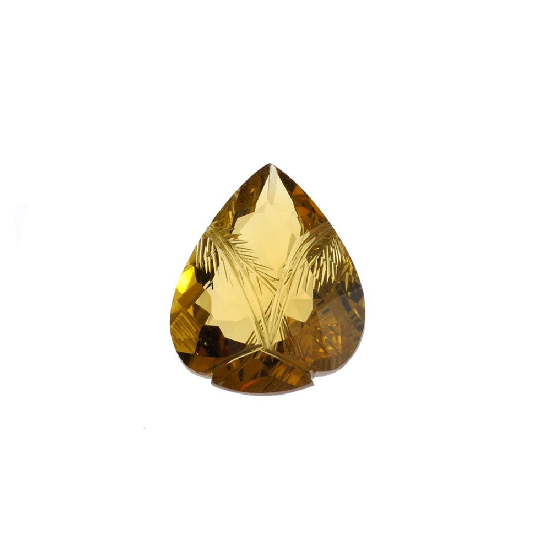 APP: 2k 27.08CT Carved Pear Cut Citrine Gemstone