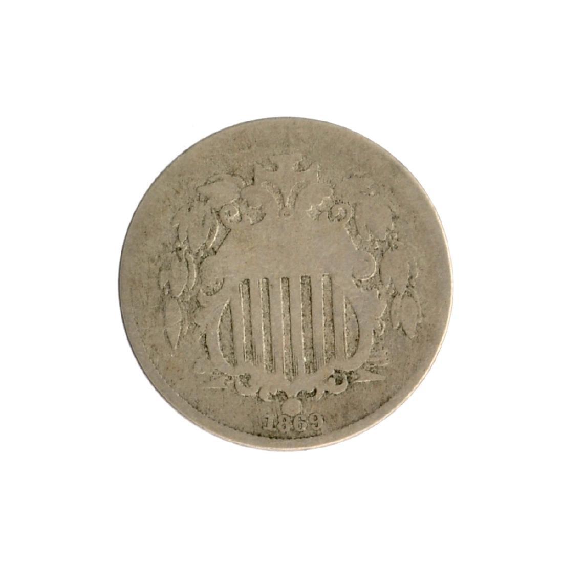 1869 Shield Nickel Coin