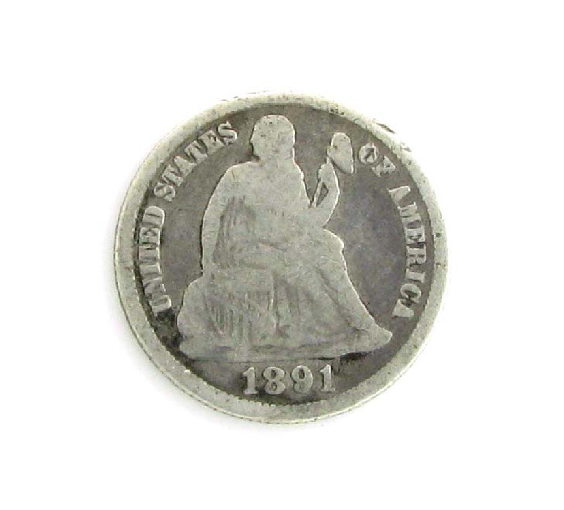 1891 Seated Liberty Dime Coin - 2