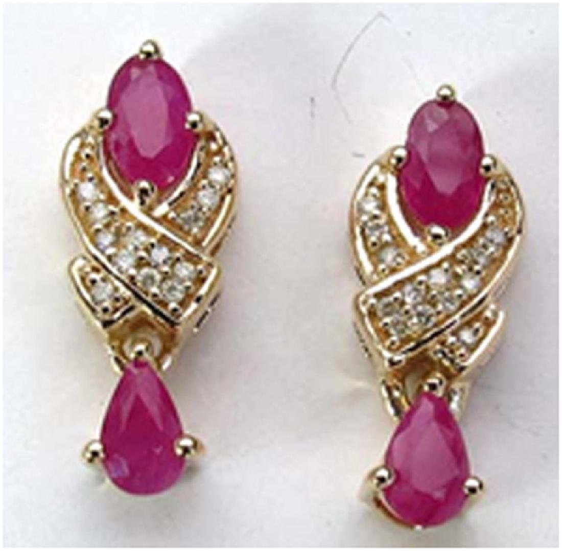 *Fine Jewelry 14K Gold, 2.52CT Ruby And White Diamond