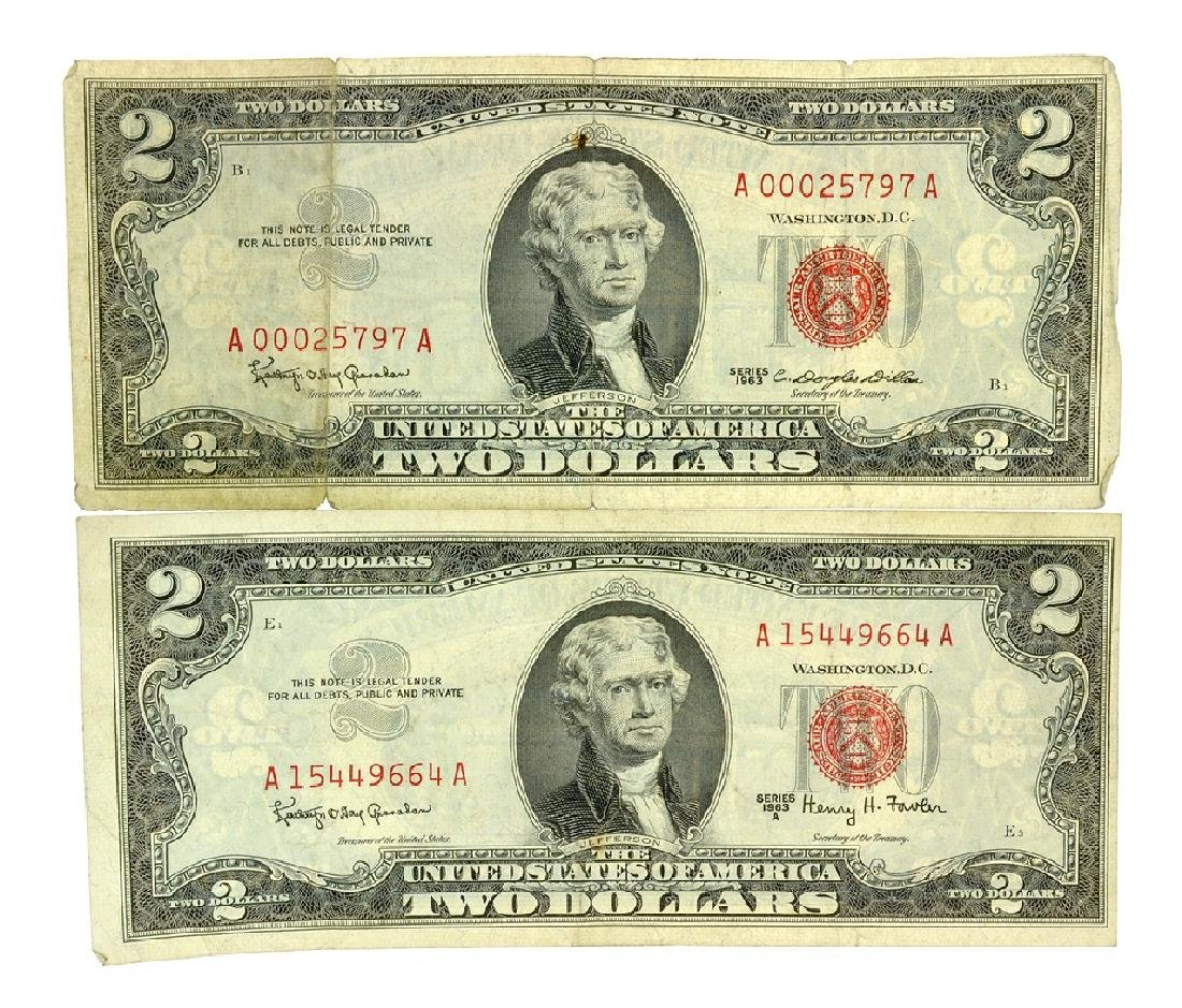 (2) 1963 $2 U.S. Red Seal Notes