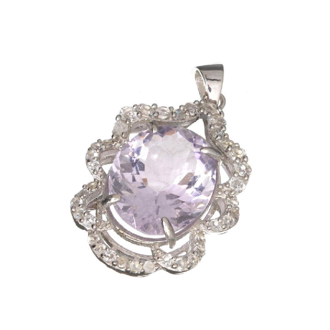 Fine Jewelry 9.16CT Amethyst Quartz And Colorless Topaz
