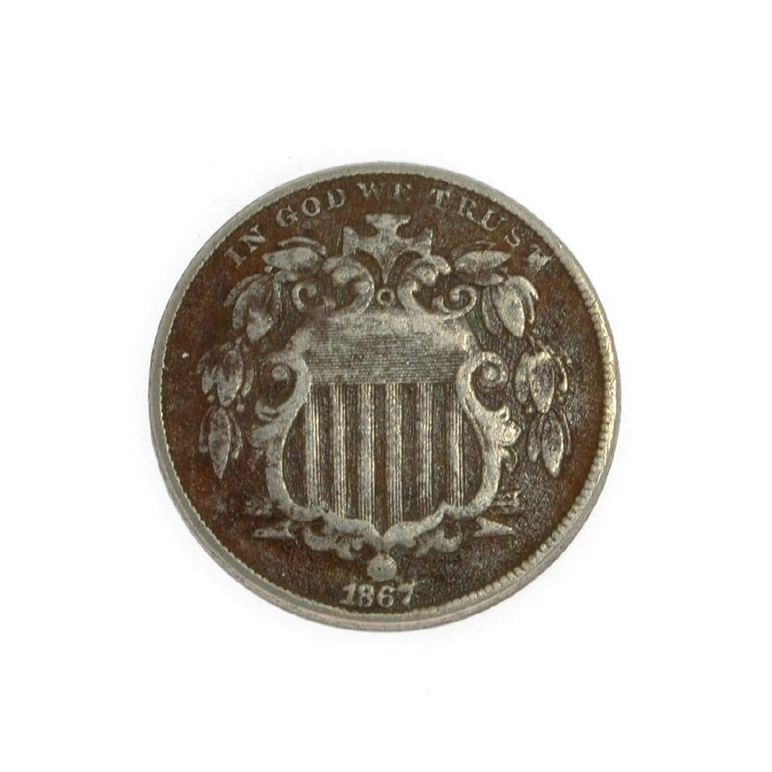 1867 Shield Nickel Coin
