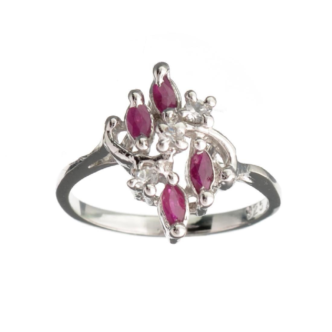 APP: 1k Fine Jewelry 0.50CT Ruby And Topaz Platinum