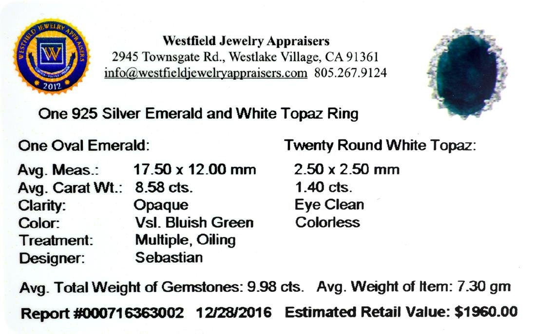 APP: 2k Fine Jewelry Designer Sebastian, 9.98CT Green - 2