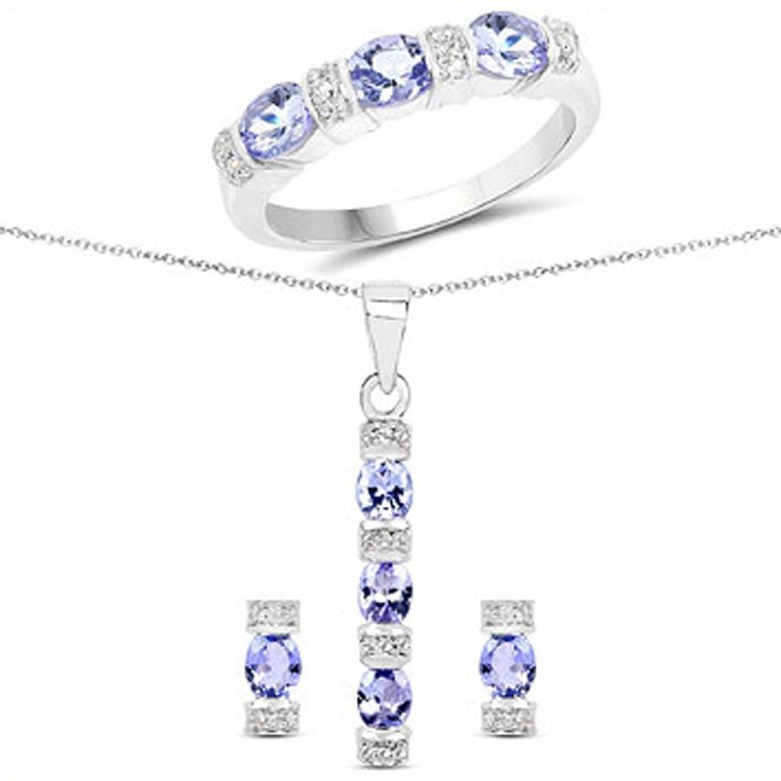 Fine Jewelry 2.82CT Tanzanite And White Topaz Sterling