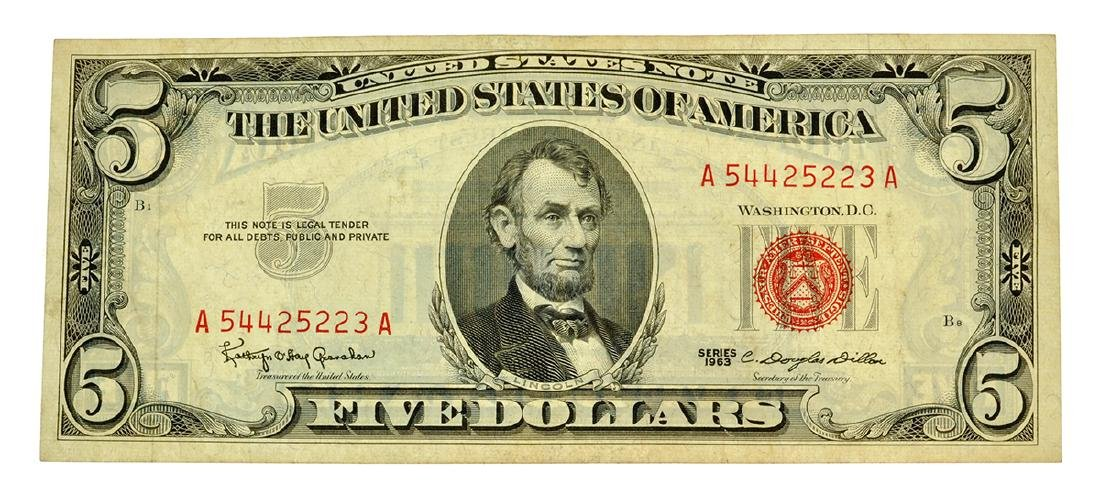 Rare 1963 $5 U.S. Red Seal Note