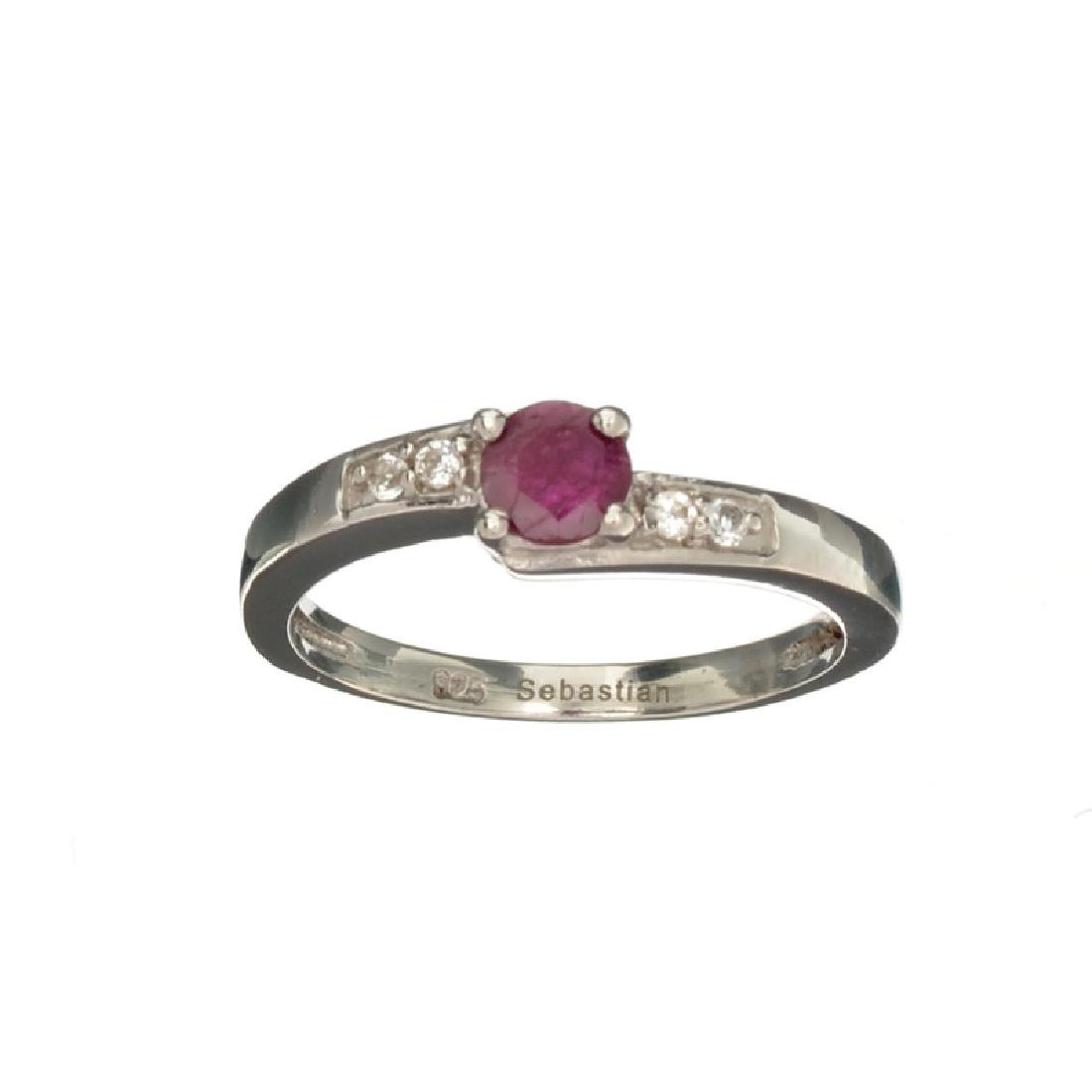 APP: 0.4k Fine Jewelry 0.70CT Round Cut Ruby And White